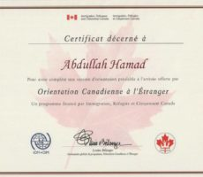 Orientation course before arrival to Canada